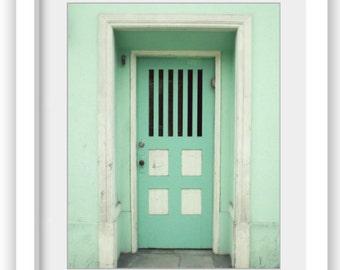 """Mint green wall art San Francisco architecture door print pastel stripes house door """"Mint Door"""""""