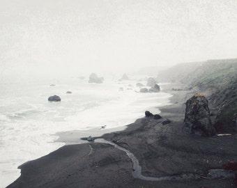 "Beach ocean photography print,  monochrome wall art California coast beach art charcoal gray nature photography ""The Sea Cast A Spell"""