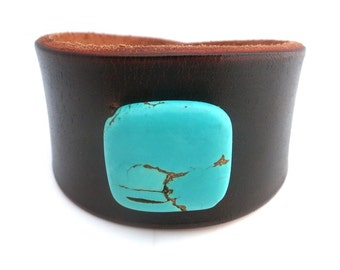 Dark Brown Leather Cuff with Turquoise Colored Howlite Bead