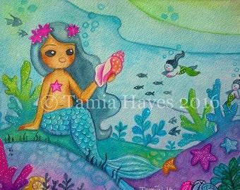 PRINT- watercolor- big eye- ocean- mermaid- fish- coral reef- tamia- chicasol- fantasy- seashell- conch shell