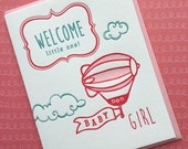 Welcome Little One : Girl - letterpress card