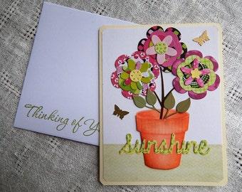 Handmade Thinking of You Card: complete card, handmade, balsampondsdesign, flower pot, sunshine, yellow, pink, get well, greeting card