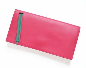 Travel Wallet for Women, Gift for Her, Passport Holder, Travel Organizer, Leather Clutch Wallet - The Stella Travel Wallet in Hot Pink