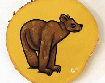 Wall Art - Bear - Original Acrylic Painting on Birch Wood Cut with Tree Bark - Animal Art - Bear Painting by Karen Watkins