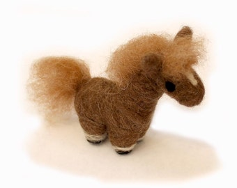 Needle Felted Pony - Animal Art Doll Brown and Blond Pony - Made to Order - Small Horse Figure - Felt Pony Figurine - By Karen Watkins