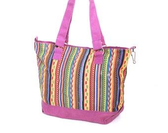 SALE purple canvas 80s 90s PSYCHEDELIC multicolor STRIPE tote bag