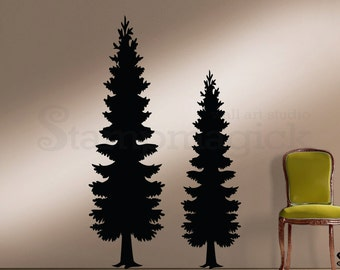 Pine Trees Wall Decal - Vinyl Christmas Tree Wall Art Sticker Home Decor - Forest Scene - K375