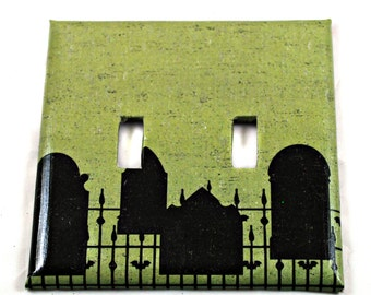 Switch Plate - Gothic Graveyard - Home Decor - Double Switch - Unique - Gifts under 10