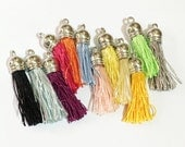 Last one, 12 assorted nylon cord tassel with brass bail 10x40mm multi color exactly as picture