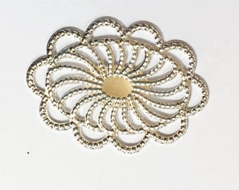 10 pcs of Silver plated filigree oval connector 26x19mm