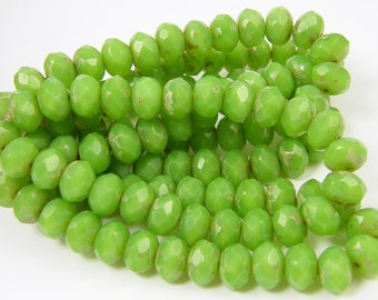 6x8mm Green Rondelle, 8x6mm green rondelle, Apple Green Rondelle, Picasso Green Rondell, Czech Glass Beads 6mm x 8mm |LG11-5|25