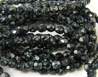 6mm Jet Black Picasso Beads Faceted Round Czech Glass Beads Fire Polish Strand of 25 Beads |LG12-12|25