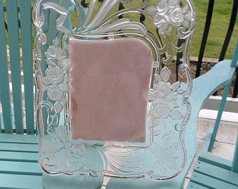 Vintage 1996 Crystal Mikasa Picture Frame,Roses,Bells,Frosted