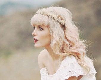 Baby's Breath crown, Ivory Bridal circlet, Boho bridal wreath, Flower crown, Ivory wedding headpiece, Winter wedding, off-white crown