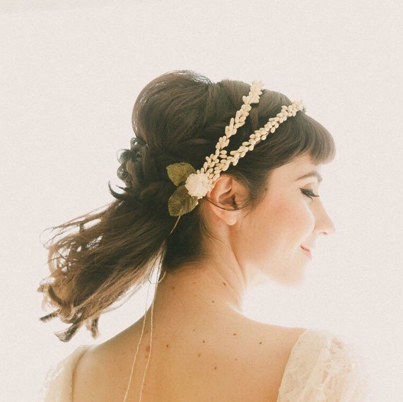 Double bridal head piece, Wedding hair accessory, Vintage replica wax flower crown, Ivory flower, wedding headpiece, Antique inspired