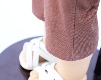 Fits like American Girl Doll Clothes - The Indian Summer Collection, Brown Denim Capri Pants, Made To Order