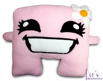 Meat Boy - Bandage Girl Plush / Fleece Plush Toy / Fleece Stuffed Toy / Video Game Characters