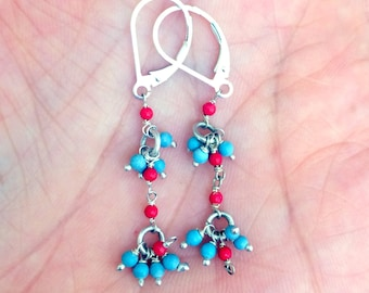 50% OFF SUMMER SALE - Turquoise & Red Coral Silver Earrings