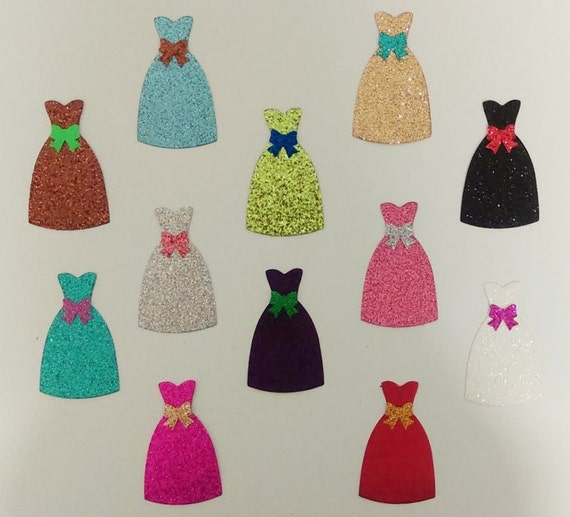Glamorous Glitter Dress Die Cuts w/ Bow Accent - 10 Shapes - Scrapbook Greeting Card Craft Embellishment FREE USA Shipping