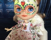 Ooak Day of the Dead Mask for Blythe,  Art Dolls, Masquarade, Day of the Dead,  or Halloween Mask