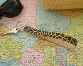 Leopard Print Wristlet Keychain, Long Loop Key Ring, Handmade Leather Key Fob Leopard Key Ring Wristlet Key Ring Fashion Keychain