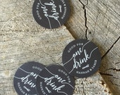 50 White ink Wedding Drink Tickets - Rustic Chalkboard Redeem for a Drink - Formal Party Bar Tickets  - One Drink - Black Stock drink Token