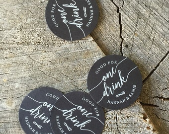 White ink Wedding Drink Tickets - Redeem for a Drink - Party Bar Tickets - Paper Nickel - One Drink - Black Stock drink Token