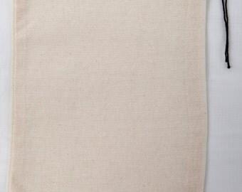 100 5x7 Cotton Muslin Black Hem and Black Drawstring Bags