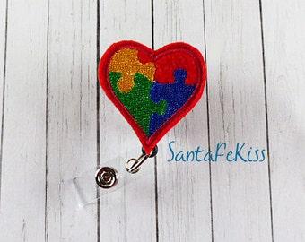 Autism Awareness Retractable ID Badge Reel for Office Worker / Teacher/ Coworker
