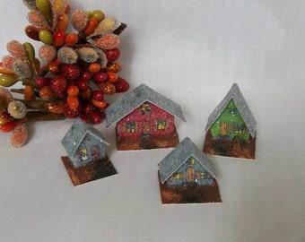 DIY Digital File to Make Your Own Vintage Putz Style Spooky Creepy Goth Style Miniature Halloween Village Scene Glitter Sugar Houses
