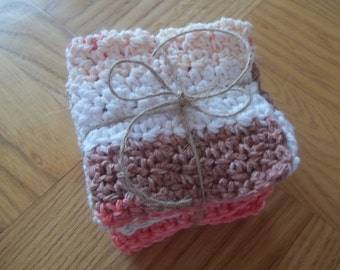 Crochet Dish Cloths - Wash Cloths - Set of three - 100% Cotton - Two brown, rust and natural and one natural