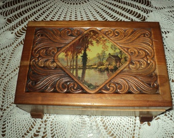 Vintage Wood Carved Forest Picture Wood Jewelry Box