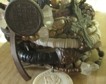 summer ~ antique shell cameo African heishi religious rhinestone leather bangles