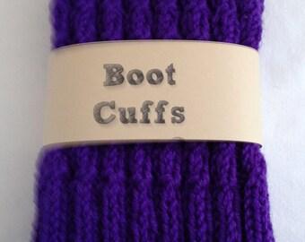Wool Boot Cuffs Toppers Handknit Purple  Adult Teen Girl  Wool Warm Gift