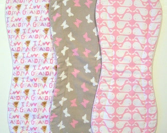 Quilted Contoured Baby Burp Cloths ~ Set of 3 ~Triple Layer ~ Flannel & Fleece ~ Baby Girl ~ Set #BC/6A
