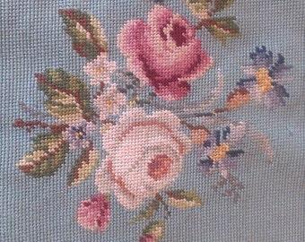 Vintage Aqua Blue Floral Rose Needlepoint Panel