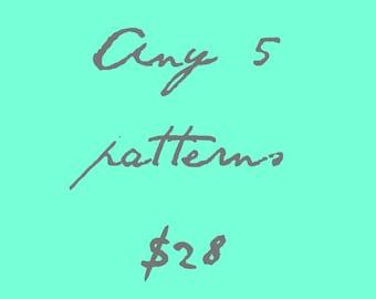 Cross Stitch Patterns - Choose 5