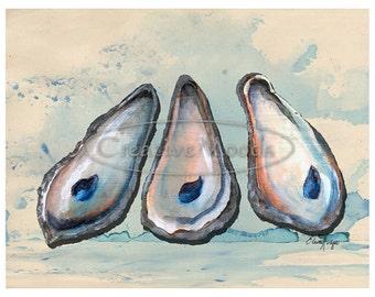 8x10 Oyster Shells Print from Original Art