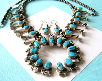 Mae Bia Navajo Sterling Silver Kingman Turquoise Squash Blossom and Earring Set