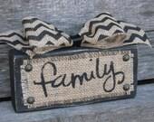 Family Wood Sign - Burlap and Wood - Distressed Wood - Chevron Ribbon - Painted Burlap Sign