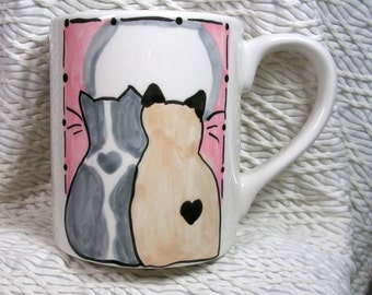 Siamese & Grey Love Cats Ceramic Mug Handpainted Original Design With Paw Prints GMS