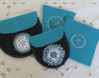 gift set for hand sewer,  merino wool felt sewing accessory, handbag sewing kit, wool felt pouches for travel