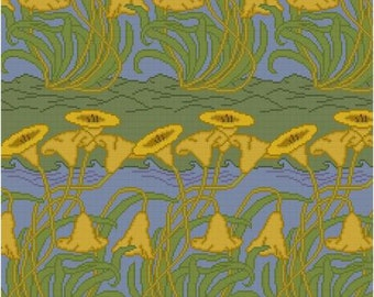 Yellow Tulip Panel CFA Voysey Cross stitch pattern PDF Arts and Crafts