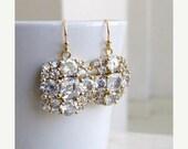 27% Off Sale Bridal Earrings Ivanka Trump Cushion CZ Gold IE2