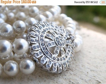 Clearance SALE Bridal Necklace Pearl CZ Double Strand Silver Brooch SN3