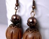 Brown & Turquoise Lightweight Bohemian Dangle Earrings, Spotted Turquoise Earring Drops, Natural Wood Earrings, Rustic Bronze Earrings (E40)