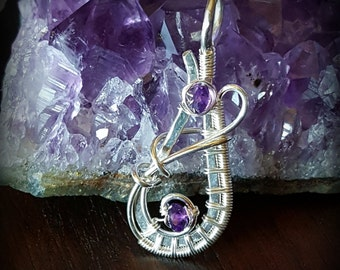 Sterling Silver Wire Wrapped Pendant with Amethyst