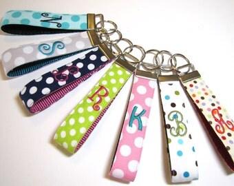 Monogram Wristlet Keychain, Christmas Gift, Fabric Key Chain, Stocking Stuffer, Teacher gift, Bidesmaid gift, Shower favor, ONE Letter