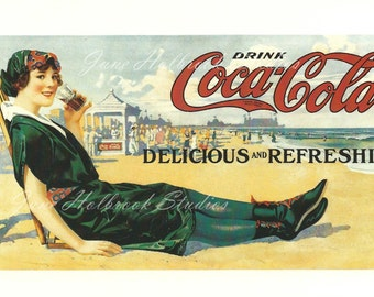 Digital Download Vintage PostCard and Calendar Images Beautiful Girls Drinking Coca Cola 0004