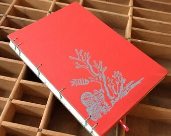 letterpress datebook with vintage coral book covers